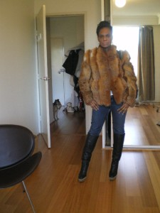 wearing vintage fur jacket, marni copy boots by siren and vintage Christian Lacroix bustier
