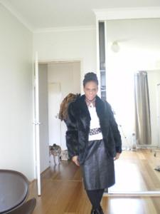 wearing vintage leather skirt thrifted via Uturn