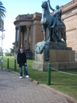 Shane under a horse outside the AGNSW