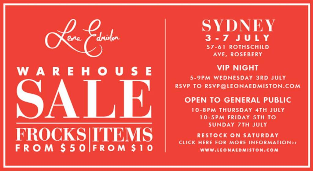 Leona Edminston Warehouse sale